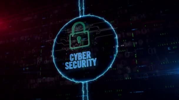 Cyber-Sicherheit und Vorhängeschloss-Hologramm in dynamischem elektrischen Kreis auf digitalem Hintergrund. modernes Konzept aus digitalem Schutz, Firewall und Computersicherheit mit Licht.