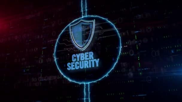 Cyber biztonság pajzs szimbólum hologram dinamikus elektromos kör a digitális háttér. A digitális védelem, a tűzfal és a számítógép-biztonság modern koncepciója.