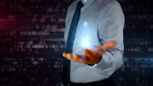 Man with dynamic 5G symbol hologram on hand. Businessman and futuristic concept of mobile wireless network, communication technology, data transmition, internet of things with light and glitch effect.
