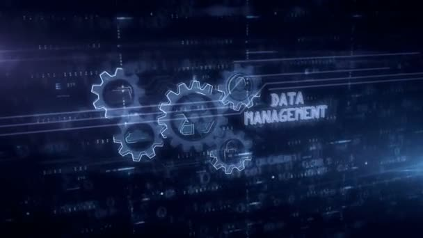 Data management symbol hologram 3d animation. Modern concept of files storage, cyber security, computer using and digital technology on blue digital background.
