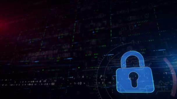 Cyber biztonság és lakat szimbólum alsó harmadában. Varrás nélküli és loopable digitális háttér-val hely részére tartalom. A számítógép-védelem, a tűzfal és az Internet-biztonság absztrakt futurisztikus koncepciója.