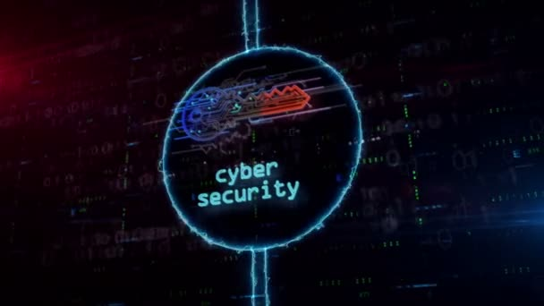 Cyber safety with key symbol hologram in dynamic electric circle on digital background. Modern concept of computer security, encryption and password protection with light and glitch effect.