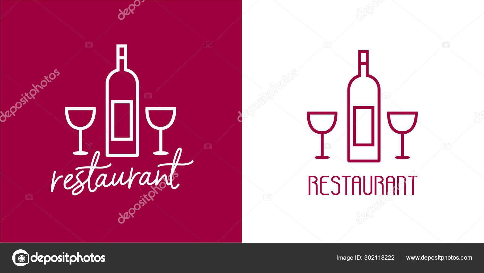 Modern Elegant Restaurant Logos White Violet Red Vector Isolated Signs Stock Vector C Rainy Helga 302118222