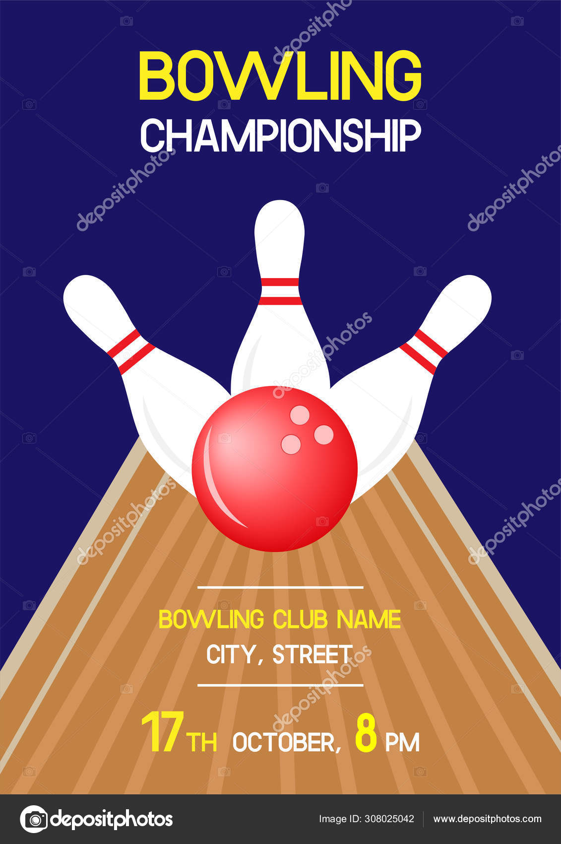 Bowling Championship Invitation Flyer Template Sample Text
