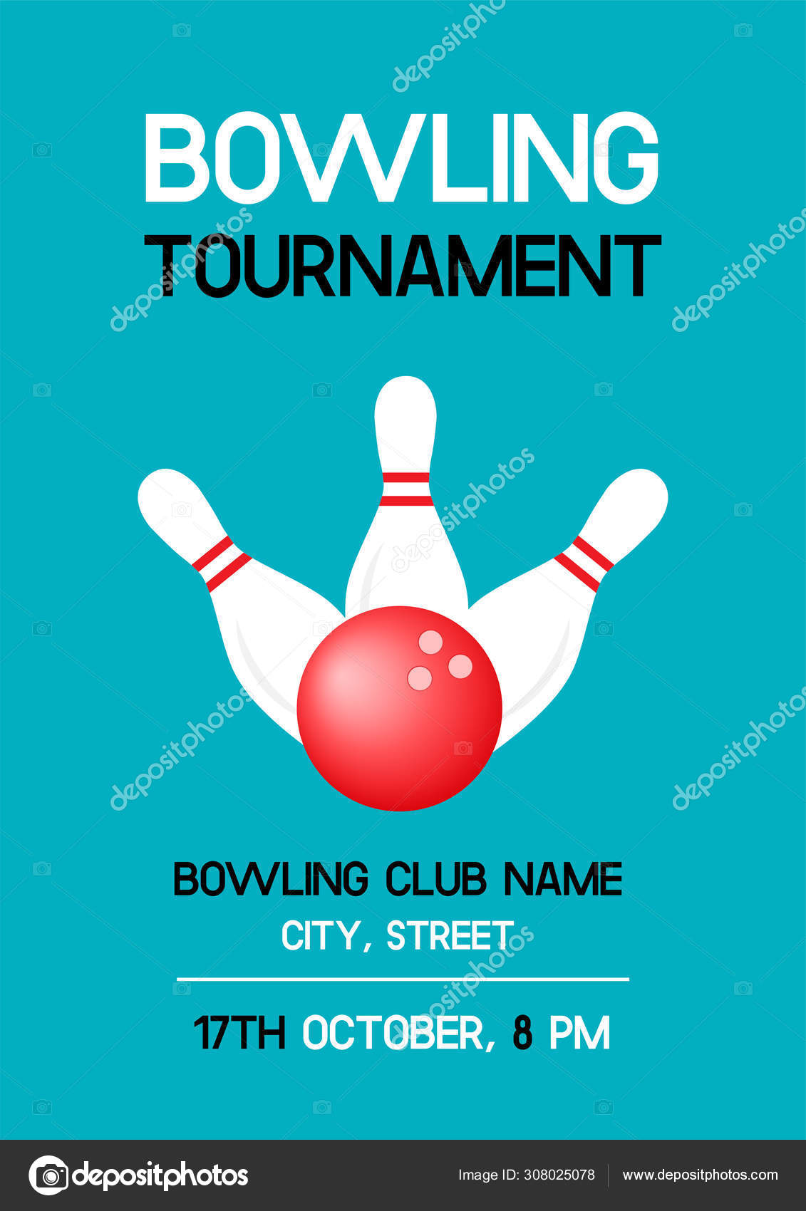 Bowling Tournament Poster Sample Text Bowling Clubs