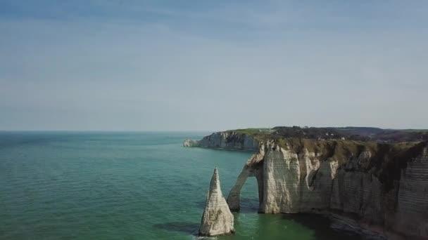 Amazing Drone footage cliffs Falaises dEtretat Etretat by drone view