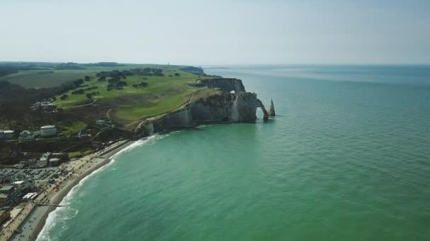 Amazing Drone footage cliffs Falaises dEtretat Etretat by drone view on ocean