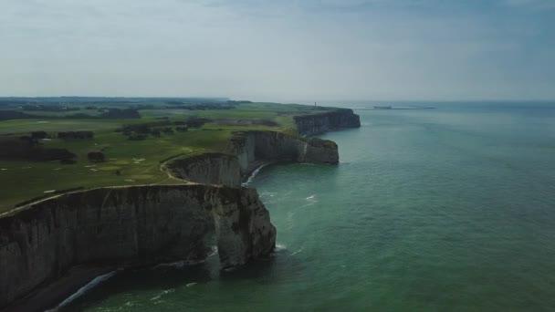 Amazing Drone footage cliffs Falaises dEtretat Etretat by drone, pacific coast normanidia