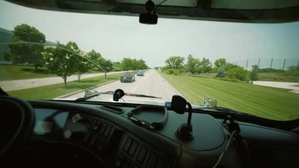 Driving Truck. Truck Driver Delivering Freight. inside the cabin