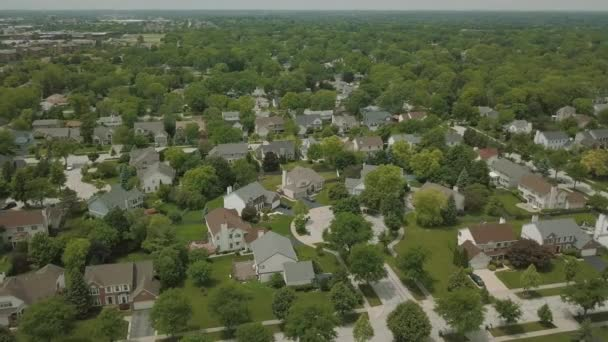 Aerial view of a suburban neighborhood. move drone panorame