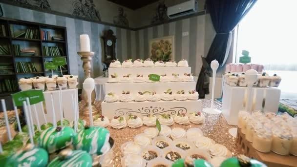 White Candy Bar Wedding, candy buffet. closeup and rotate camera