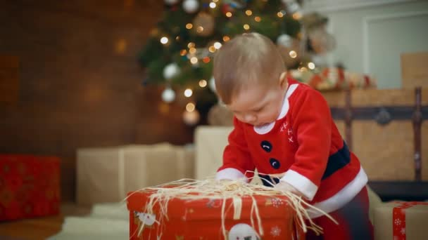 Amazing looked of giving a gift to her excited cute little boy or girl that clapping her hands near and smile a decorated Christmas tree and gift. midle shot