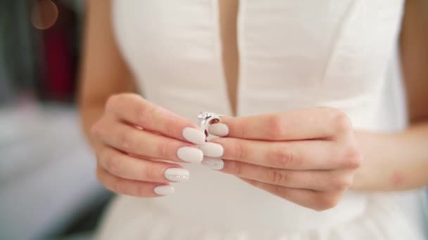 Which Hand Wedding Ring Female.Female Hands With Silver Golden Ring Diamond Rack Focus Woman Wear Engagement Wedding Ring On Finger Polished Nails Lace Dress Worry Before Ceremony Close Up
