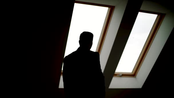 Businessman standing next to window, looking out. Silhouette of man