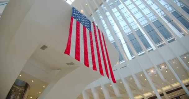 American Flag against the background of Westfield trade centre Close up of UNITED STATES flag. usa, Ver 2