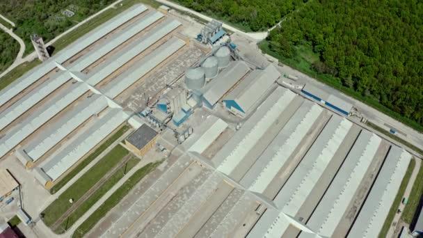 Luftaufnahme, die einen großen Schweinemastbetrieb auf dem natürlichen Hintergrund überfliegt. Schuss in die Mitte