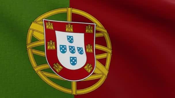 Portugál Köztársaság Bandeira de Portugal vagy Bandeira das Quinas néven ismert zászló integet a szélben. Részletes felvétel.