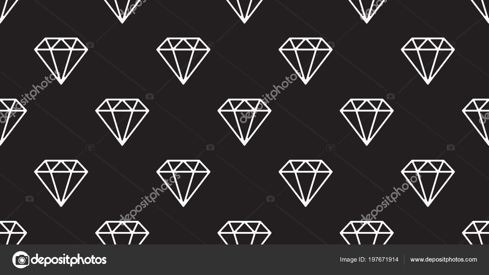 Diamond Isolated Jewelry Icon Vector Seamless Pattern Wallpaper