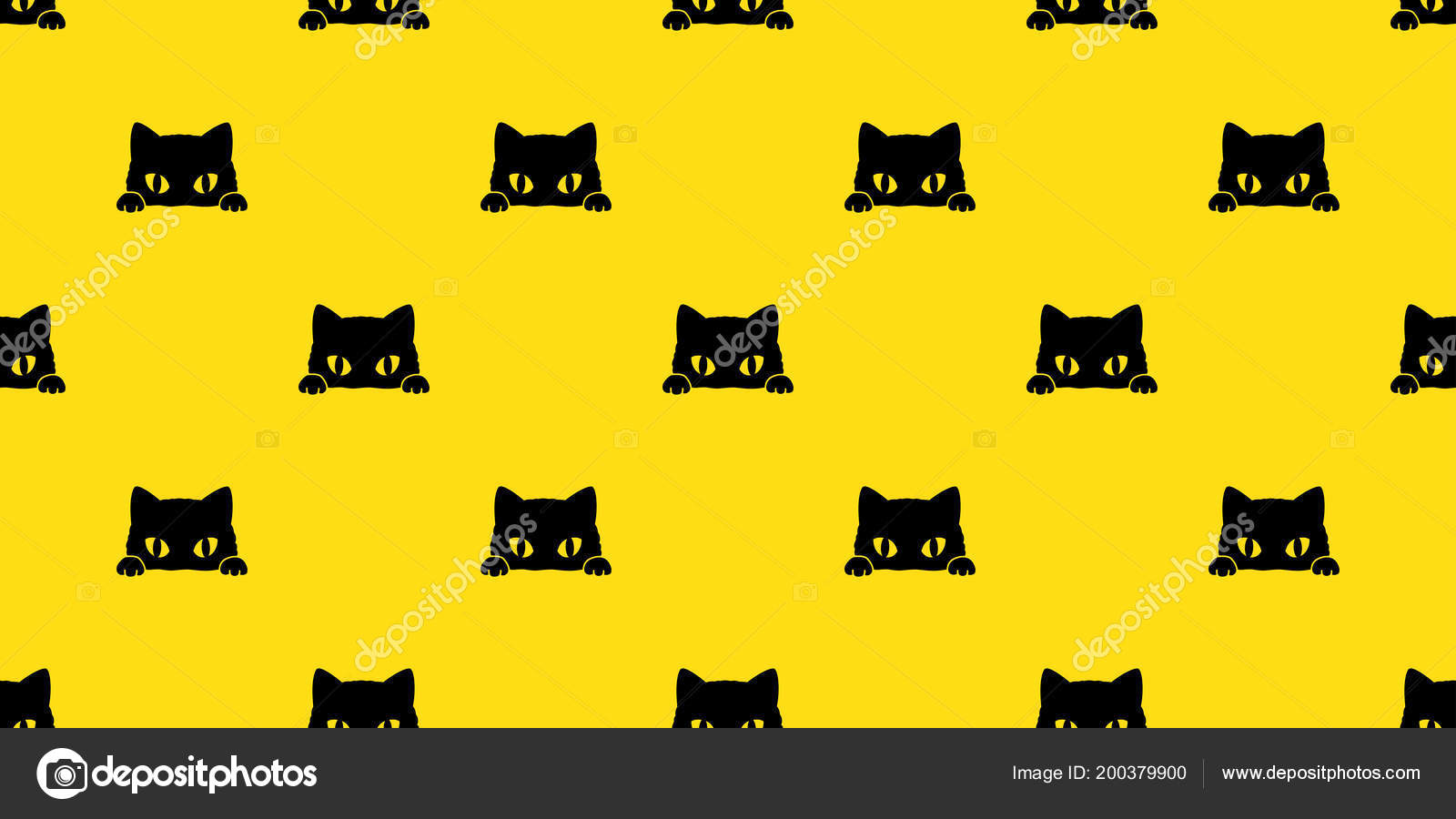 Cat Seamless Pattern Black Cat Vector Isolated Wallpaper Background Yellow Stock Vector C Cnuisin 200379900