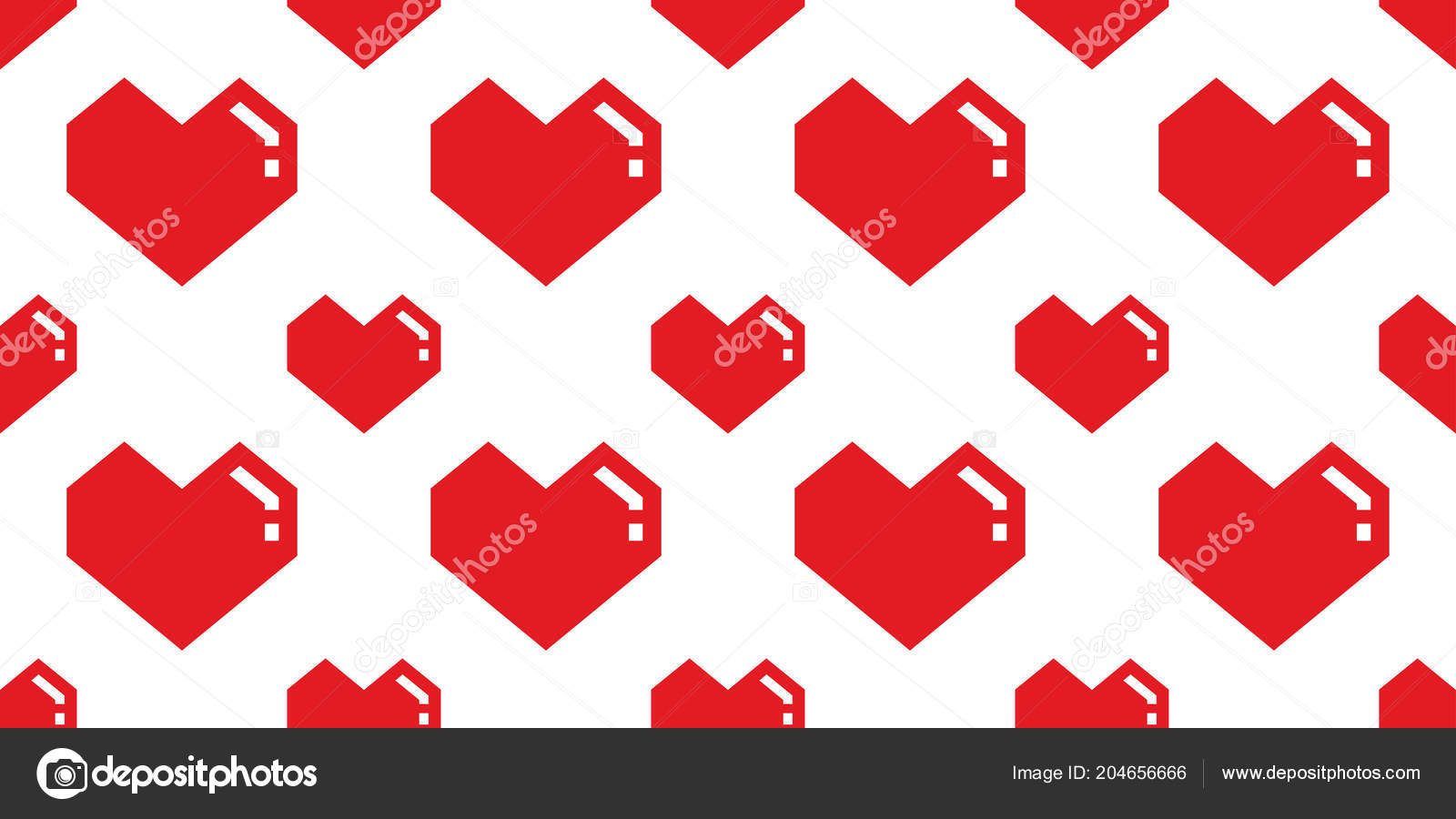 Heart Valentine Seamless Pattern Vector Isolated Geometric Doodle