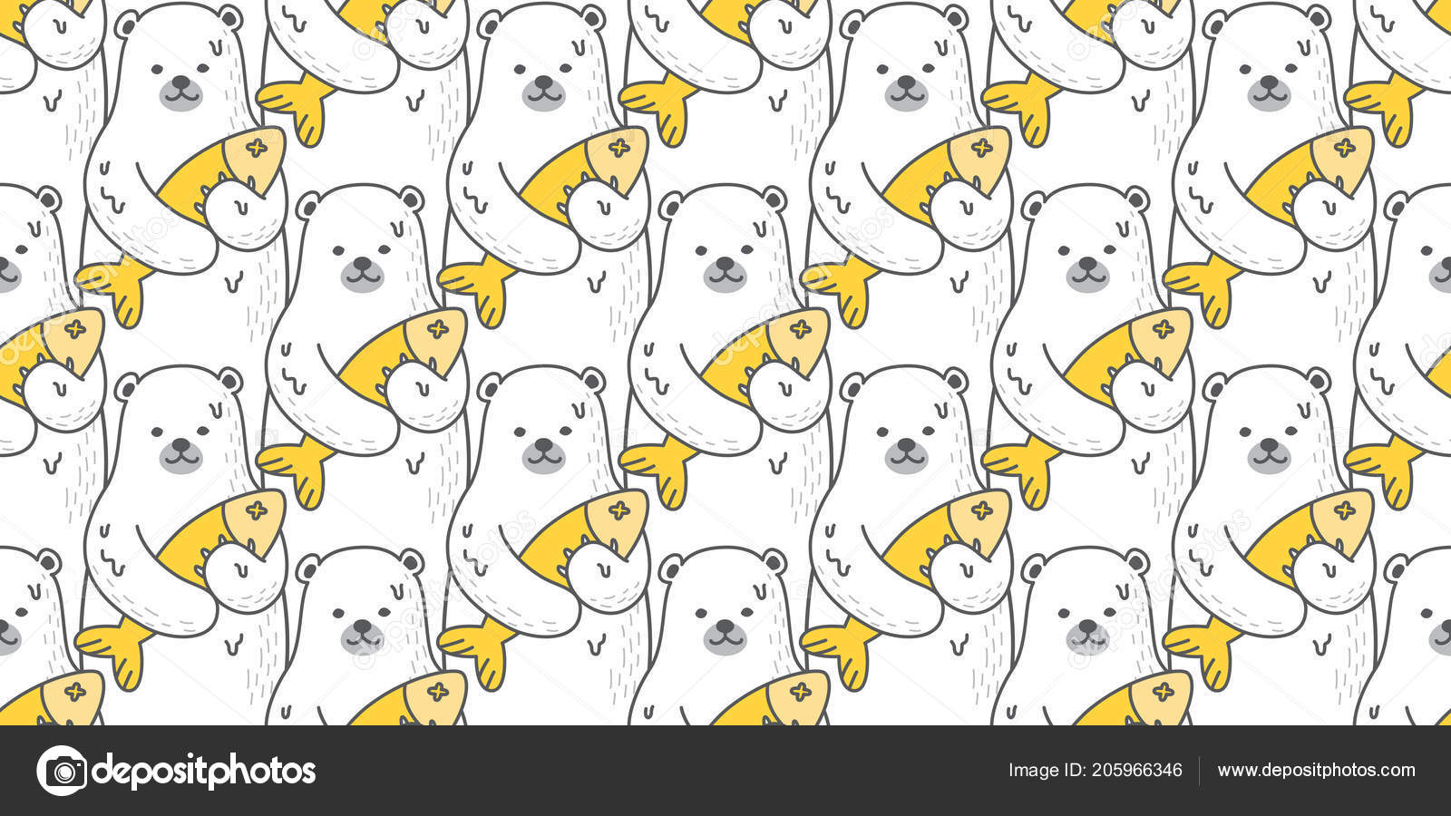 Oso Oso Polar Sin Costuras Vector Patrón Peces Aislados Wallpaper ...