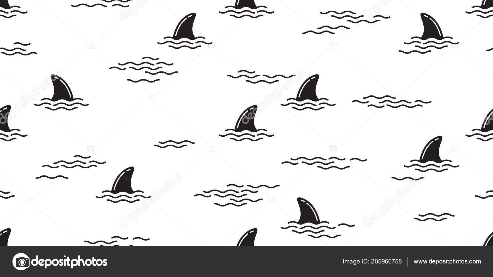 Tiburón Aleta Patrones Sin Fisuras Delfín Aislado Vector Ballena ...