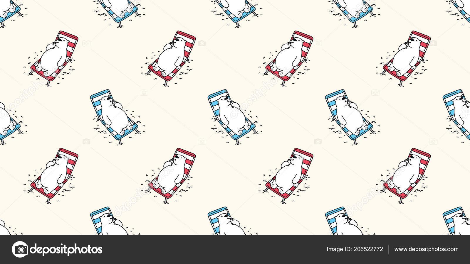 Oso Oso Polar Sin Costuras Vector Doodle Patrón Playa Vacaciones ...
