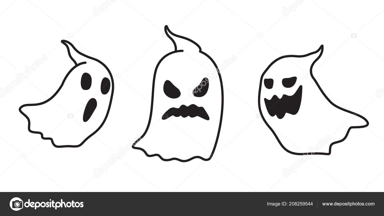 Ghost Vector Icon Halloween Spooky Doodle Cartoon Illustration