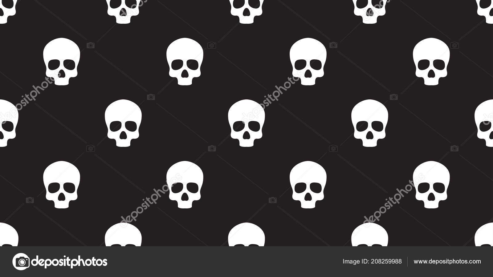 Skull Seamless Halloween Vector Pattern Bone Ghost Face Isolated