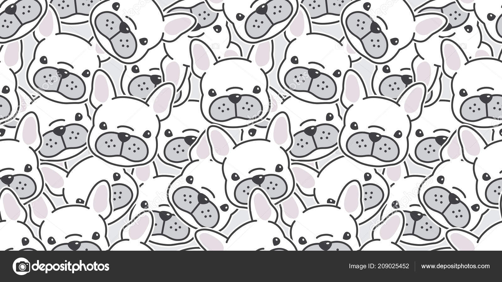 French Bulldog Cartoon Wallpaper Dog Seamless Pattern French Bulldog Vector Scarf Isolated Wallpaper Background Stock Vector C Cnuisin 209025452
