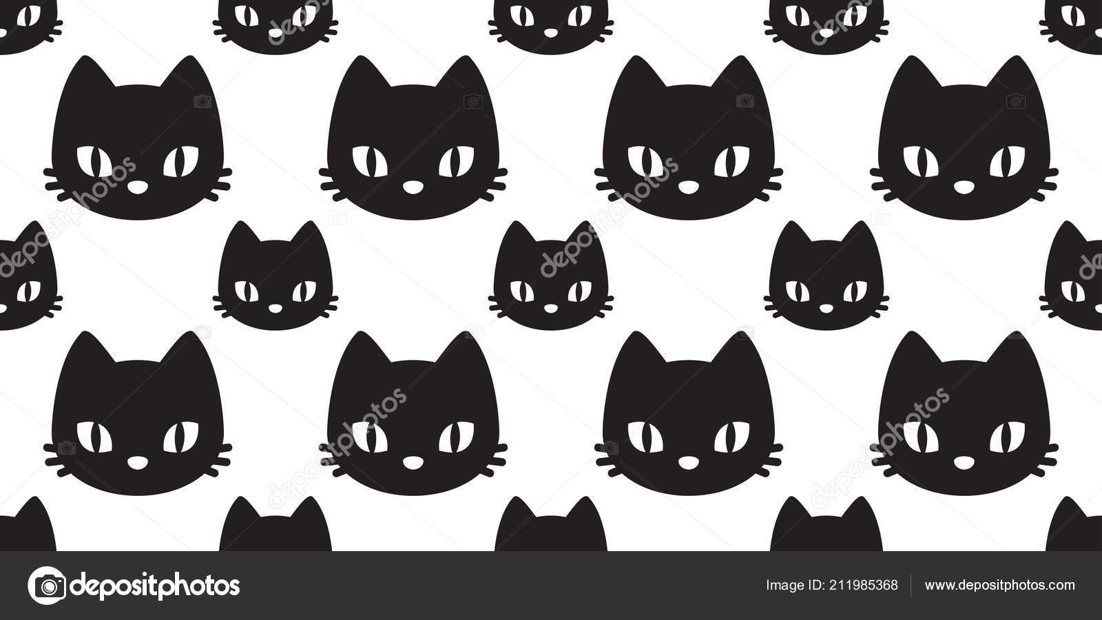 Cabeza Gato Gato Sin Fisuras Patrón Vector Fondo Pantalla Gatito ...