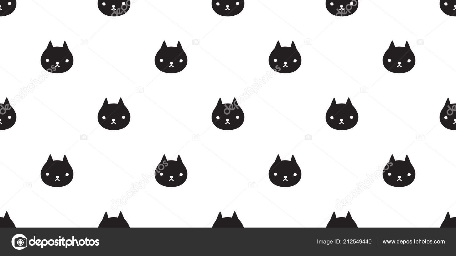 Cat Seamless Pattern Vector Kitten Calico Halloween Isolated