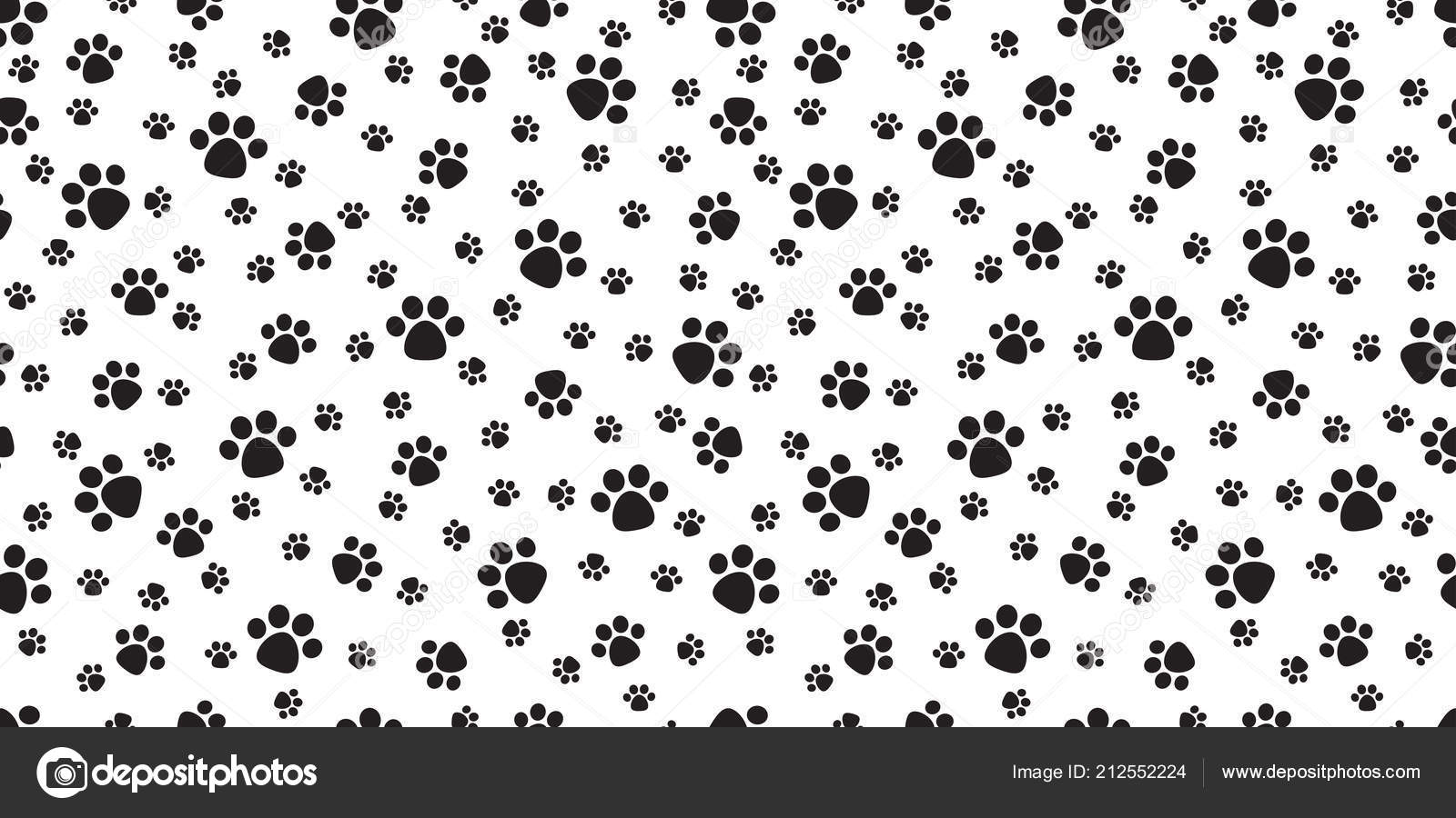 Dog Paw Seamless Pattern Vector Cat Puppy Footprint Wallpaper Background By CNuisin