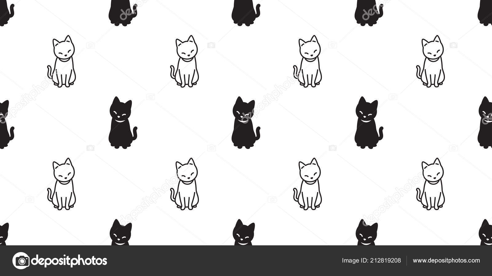 Gato Sin Fisuras Patrón Vector Gatito Dibujos Animados Halloween ...