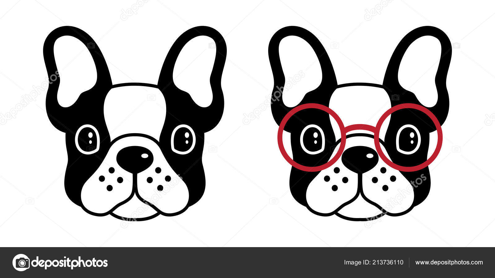 Pes Vektorove Buldocka Mops Ikonu Logo Bryle Kresleny Charakter