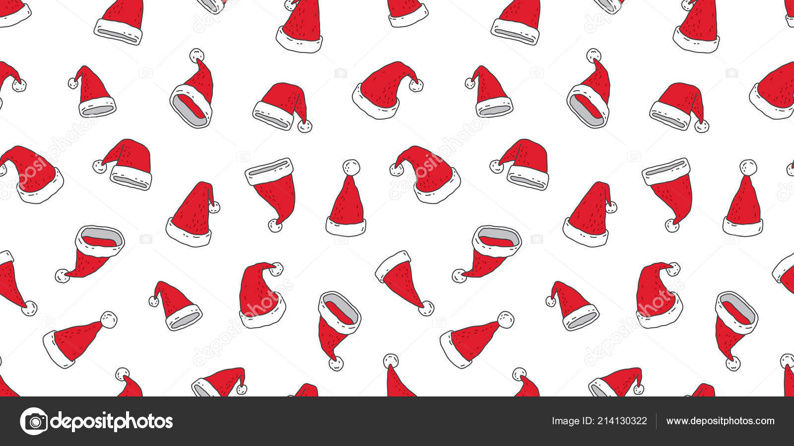Christmas seamless pattern vector Santa hat scarf isolated illustration  cartoon new year repeat wallpaper tile background red– stock illustration 5c6f9e82651