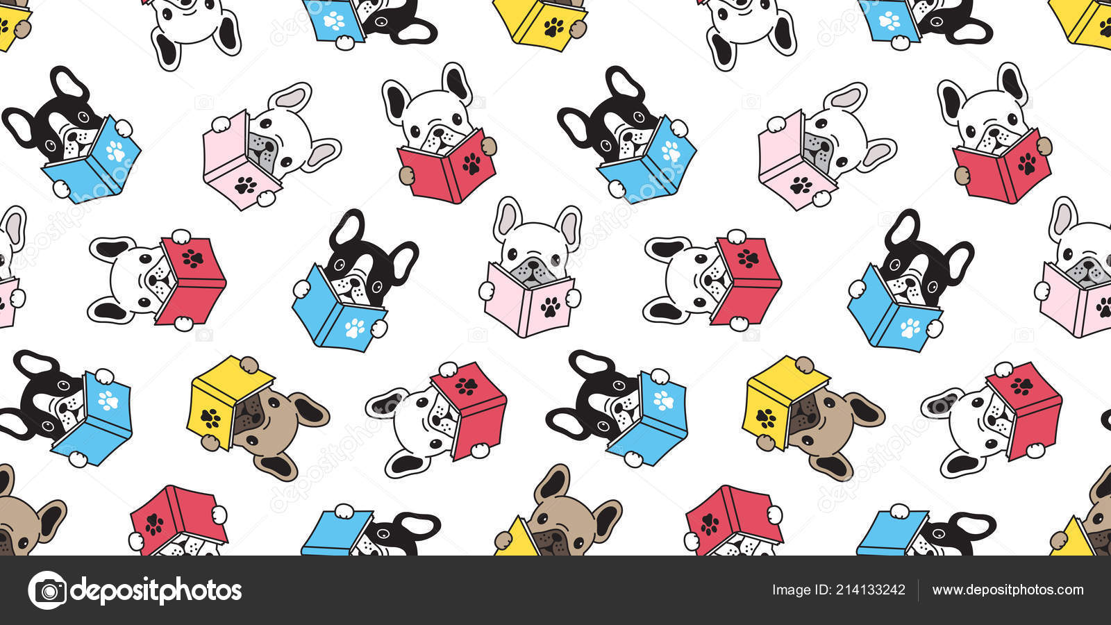 Chien Sans Couture Modele Vecteur Francais Bulldog Carlin