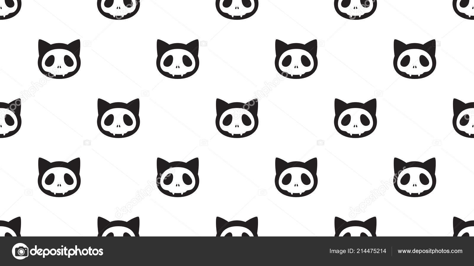 Patrón Transparente Cat Vector Halloween Hueso Esqueleto Calavera ...
