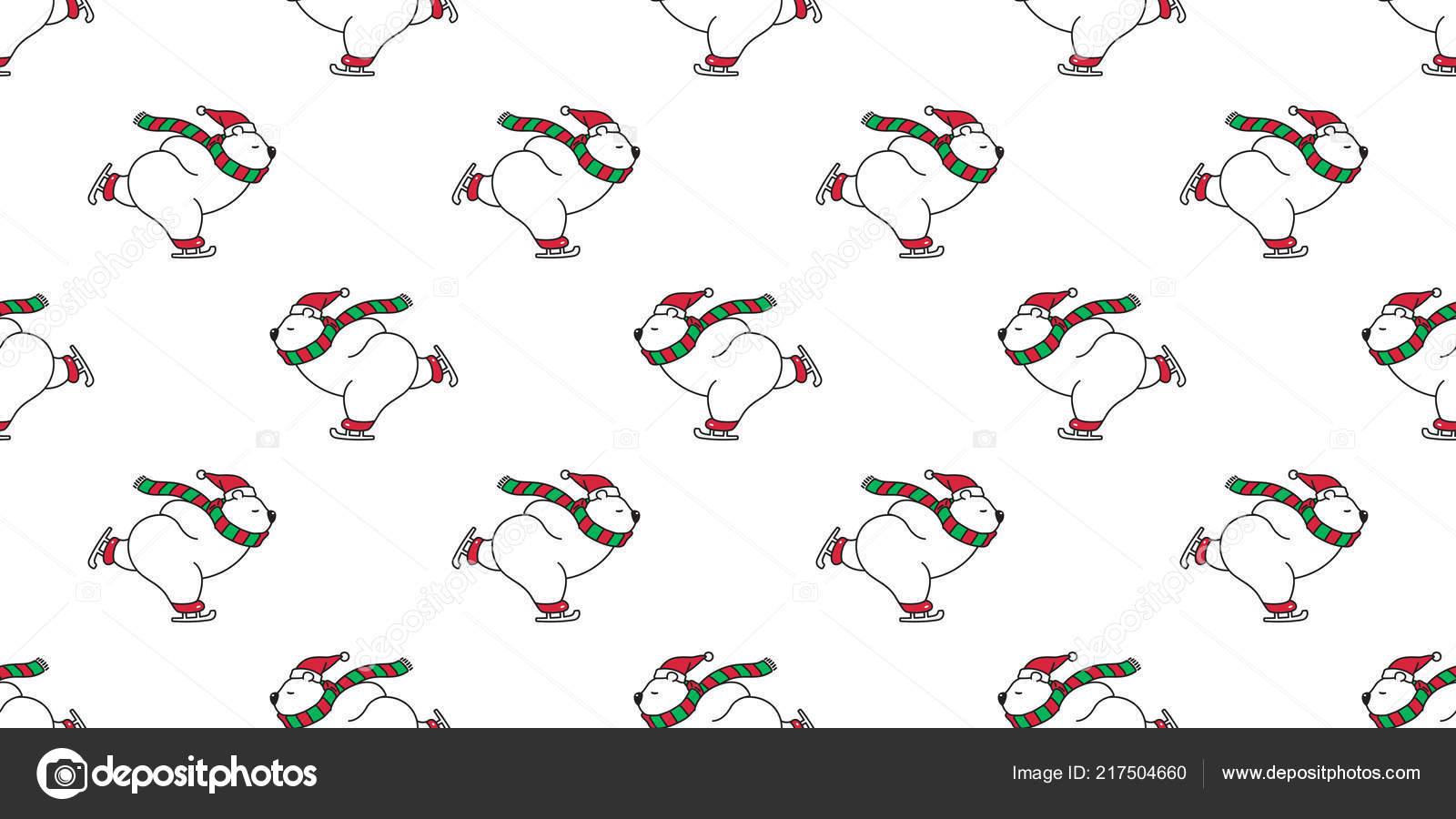 Oso Patrones Sin Fisuras Navidad Oso Polar Vector Santa Claus ...