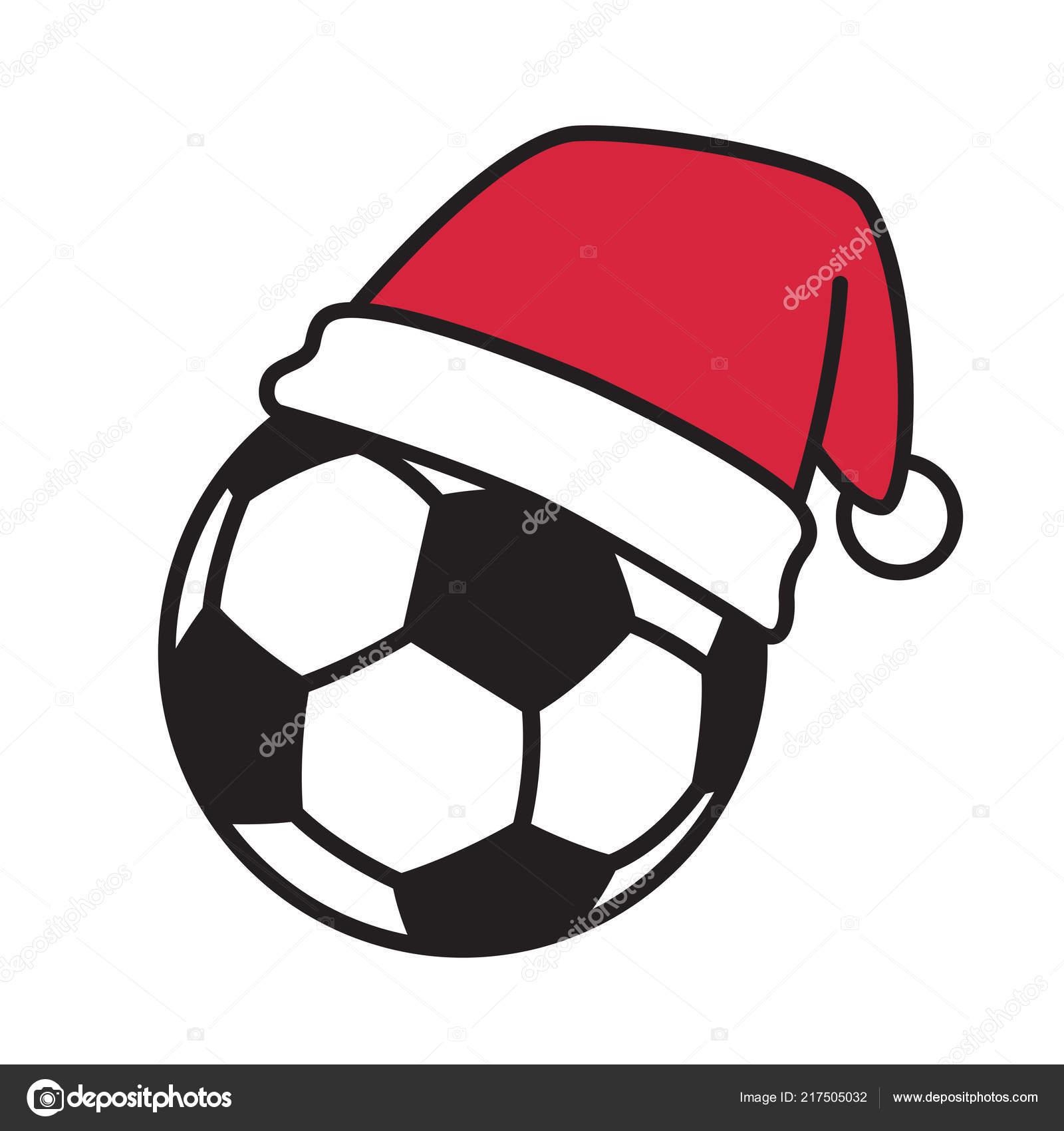 Soccer Ball Vektor Fussball Weihnachten Mutze Weihnachtsmann