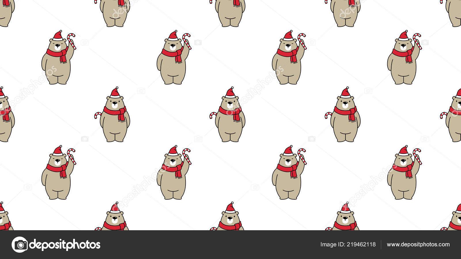 Oso Polar Oso Patrones Sin Fisuras Navidad Vector Bastón Caramelo ...