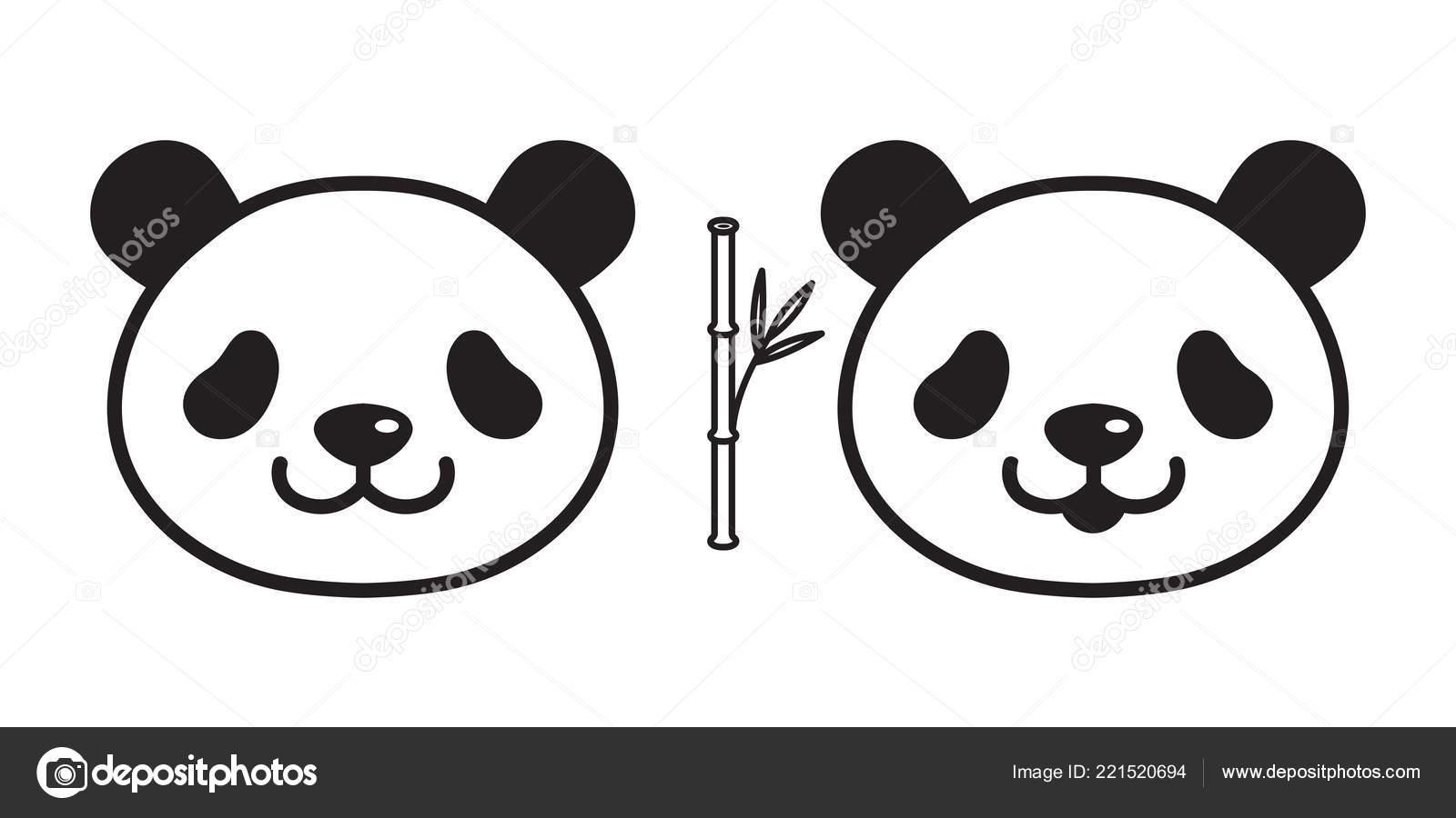 Vektor Bar Panda Symbol Eisbar Logo Bambus Cartoon Charakter
