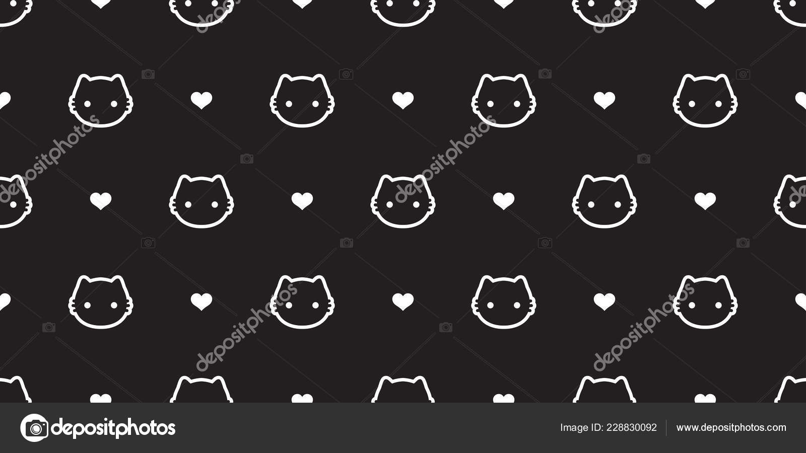 Cat Seamless Pattern Vector Kitten Calico Heart Valentine Halloween Tile Background Scarf Isolated Wallpaper Stock Il Ration