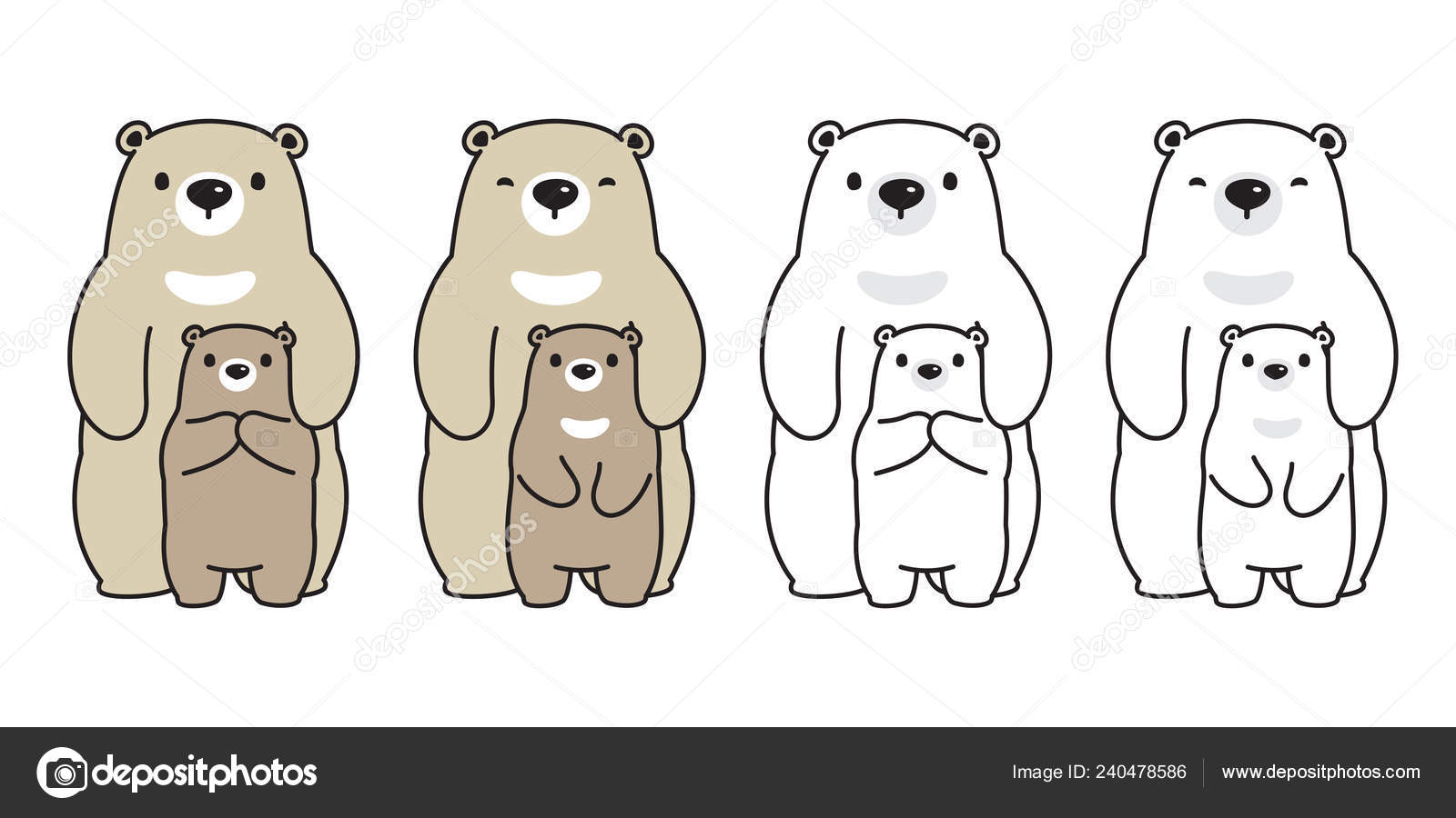Bear Vector Polar Bear Family Cartoon Character Icon Logo Honey Stock Vector C Cnuisin 240478586