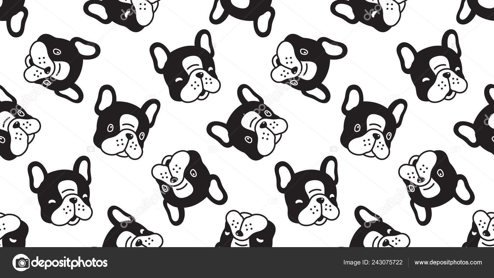 Dog Seamless Pattern French Bulldog Vector Scarf Isolated Cartoon Repeat Stock Vector C Cnuisin 243075722