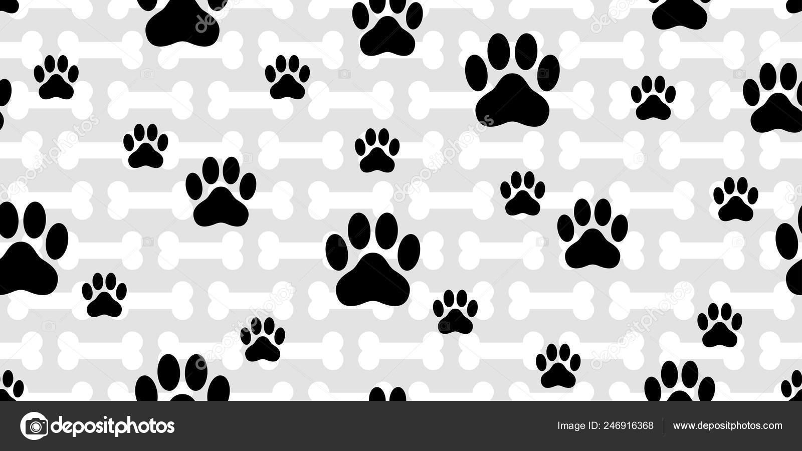 Dog Paw Seamless Pattern Vector French Bulldog Bone Footprint Cartoon Stock Vector C Cnuisin 246916368