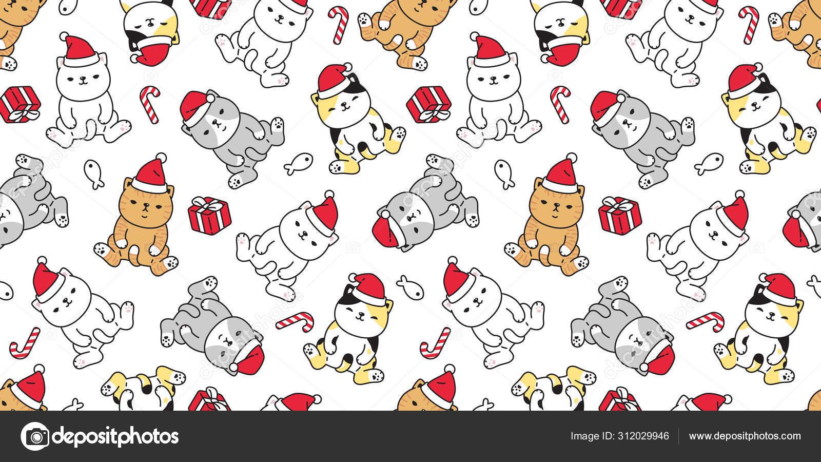 Cat Seamless Pattern Christmas Vector Santa Claus Hat Kitten Candy Stock Vector C Cnuisin 312029946