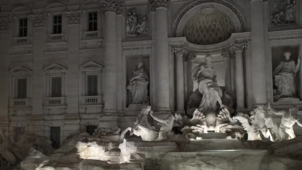 Time lapse pan shot left to right of statues of Trevi fountain. ITALY, 2018