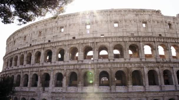 The Colosseo in Rome. The Colosseum also known as the Flavian Amphitheatre, an oval amphitheatre in the centre of the city of Rome, Italy. Left to right real time pan shot .
