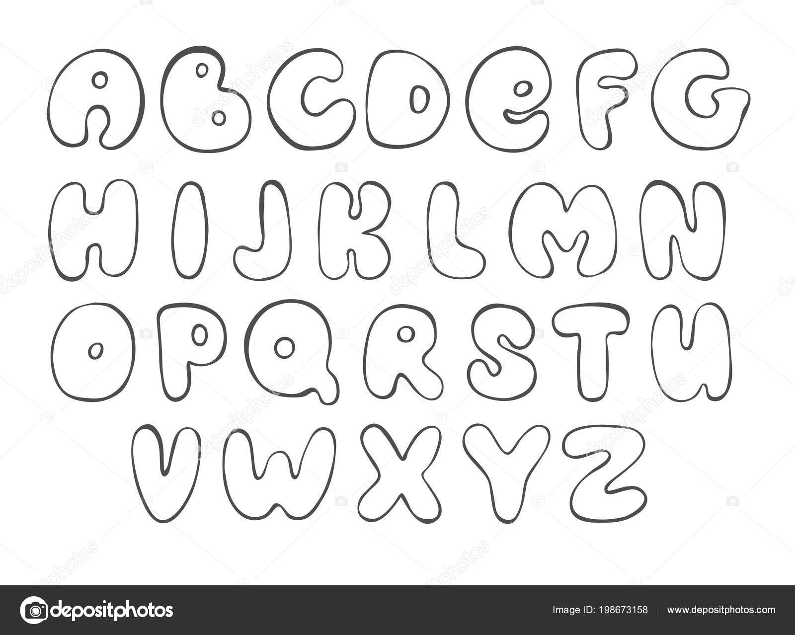 Abc Sketch English Alphabet Line Letter Black Font For Design Stock Vector